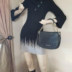 Black Knitted Dress Beautiful Gray Finish.